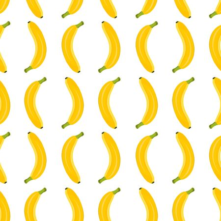 Banana seamless pattern on white background. Tropical fruit vector illustration. 일러스트