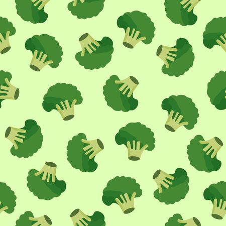 Broccoli vegetables seamless pattern on green background, green broccoli ingredients food, vector illustration
