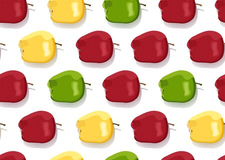 Apple colorful seamless pattern on white background. Red, Green and Yellow apples fruits vector illustration