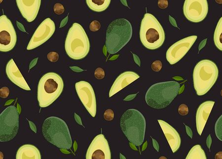 Avocado seamless pattern whole and sliced on black background, Fruits vector illustration Illustration