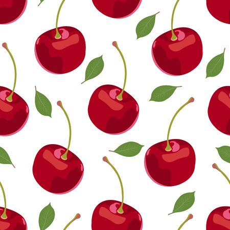 Cherry fruits seamless pattern, Fresh organic food, Big red fruits berry pattern on white. Vector illustration.