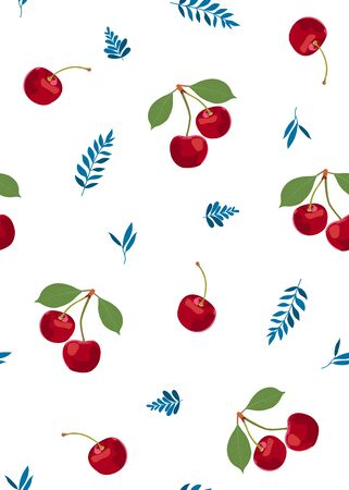 Cherry fruits seamless pattern with cute leaves, Fresh organic food, Red fruits berry pattern on white. Vector illustration.
