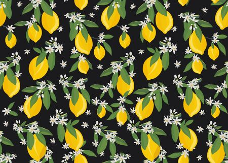 Lemon fruits seamless pattern with flowers and leaves on black background. citrus fruits vector illustration. Ilustrace