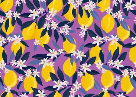 Lemon fruits seamless pattern with flowers and leaves on purple background. citrus fruits vector illustration.