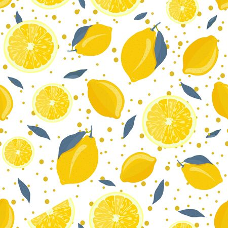 Lemon fruits and slice seamless pattern with gray leaves and sparkling on white background. citrus fruits vector illustration. Ilustrace