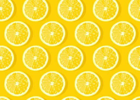 Lemon fruits slice seamless pattern on yellow background with shadow. Citrus fruits vector illustration.