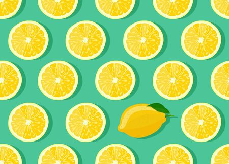 Lemon fruits slice seamless pattern on green background with shadow. Citrus fruits vector illustration. Ilustrace