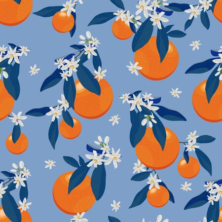 Orange fruits seamless pattern with flowers and blue leaves on blue  background. Grapefruit citrus fruit vector illustration.