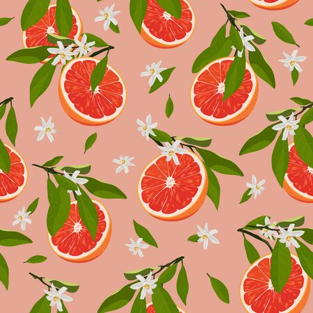 Orange fruits slice seamless pattern with flowers and leaves on rose pink background. Grapefruit citrus fruit vector illustration.
