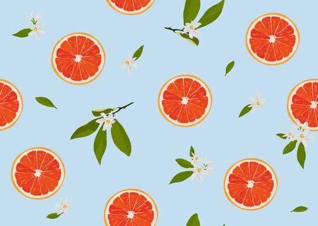 Orange fruits slice seamless pattern with flowers and leaves on pastel blue background. Grapefruit citrus fruit vector illustration.