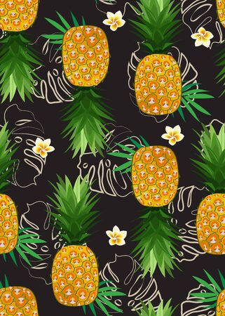 Patrón sin fisuras de piña con flor de frangipani y hojas tropicales sobre fondo negro. Fondo de verano. Ilustración de vector de frutas de piña.