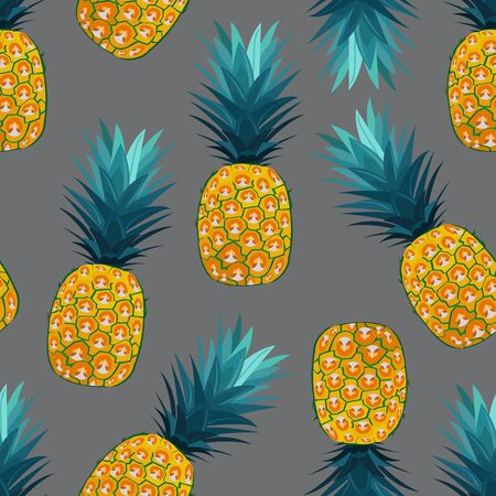 Pineapple seamless pattern on silver gray background. Summer background. Ananas fruits vector illustration.