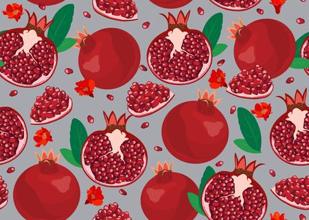 Pomegranate fruits seamless pattern and piece on silver background, Fresh organic food, Red ruby fruit pattern. Vector illustration.