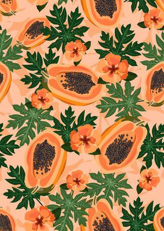 Papaya fruits seamless pattern on pastel orange background with leaves and orange hibiscus flower, Fresh organic food, Tropical fruit vector illustration.