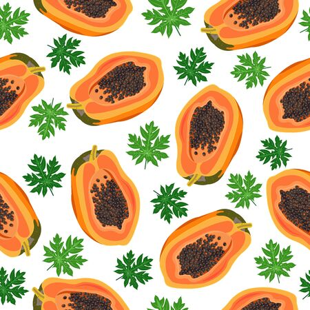 Papaya fruits seamless pattern on white background with leaves, Fresh organic food, Summer pattern background, Tropical fruit vector illustration. Ilustrace