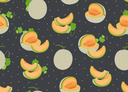 Melon whole and slice seamless pattern on black background with seed, Fresh cantaloupe melon pattern background, Fruit vector illustration.