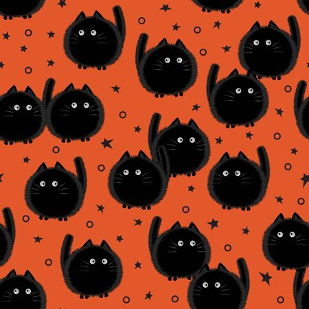 Halloween spooky cats seamless pattern on orange background. Funny fat cat halloween pattern background. Halloween theme design vector illustration