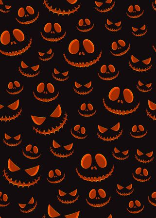 Halloween horror pumpkin jack-o lantern seamless pattern on black background. creepy halloween pumpkin pattern background. Halloween theme design vector illustration