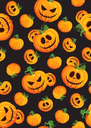 Halloween pumpkin seamless pattern on black background. Cute halloween pumpkin pattern background. Halloween theme design vector illustration