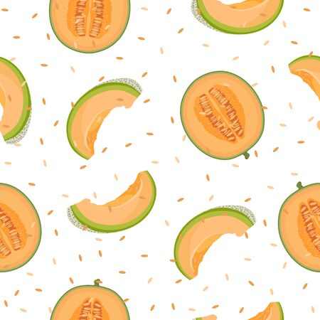 Melon half and slice seamless pattern on white background with seed, Fresh cantaloupe melon pattern background, Fruit vector illustration.