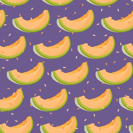 Melon slice seamless pattern on purple background with seed, Fresh cantaloupe melon pattern background, Fruit vector illustration. Illustration