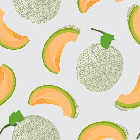 Melon whole and slice seamless pattern on gray background, Fresh cantaloupe melon pattern background, Fruit vector illustration.