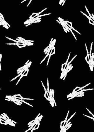 Skeleton hand seamless pattern on black background. halloween bones pattern background. vector illustration