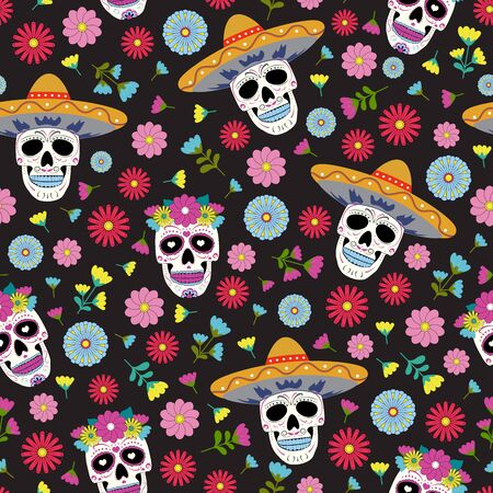 Day of the Dead skull with floral ornament and flower seamless pattern on black background. Dia De Los Muertos celebration pattern background. vector illustration