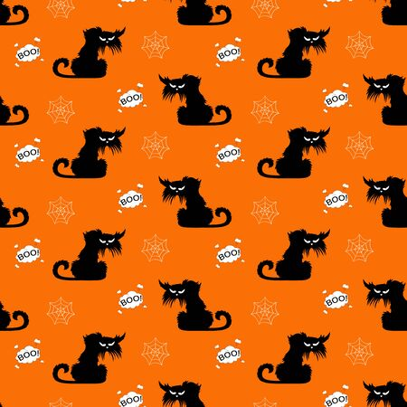 Halloween spooky cats seamless pattern on orange background and cloud boo. Funny cat halloween pattern background. Halloween themes design vector illustration