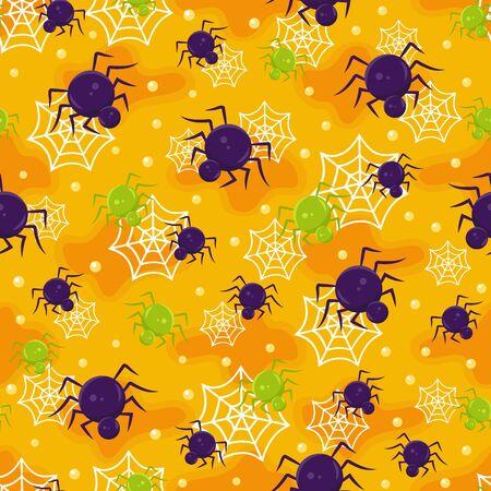 Halloween spider seamless pattern on orange background. halloween pattern background. vector illustration