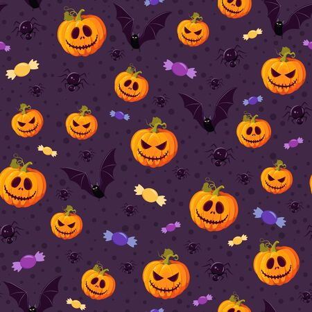 Halloween pumpkin seamless pattern on purple background. halloween pattern background. vector illustration
