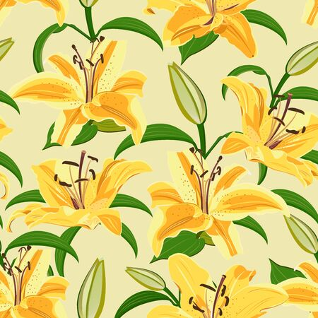 Lily flower seamless pattern on yellow background, Yellow lily floral vector illustration