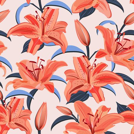 Lily flower seamless pattern on pink background, Orange lily floral vector illustration