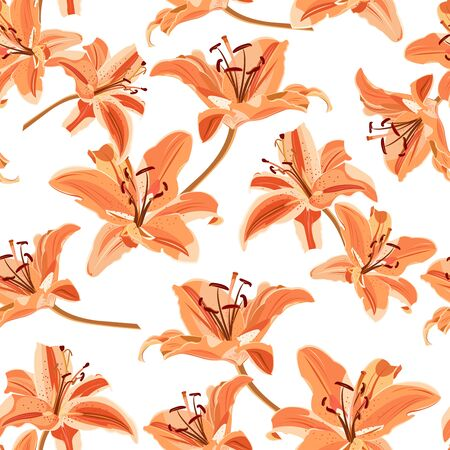 Lily flower seamless pattern on white background, Orange lily floral vector illustration Иллюстрация