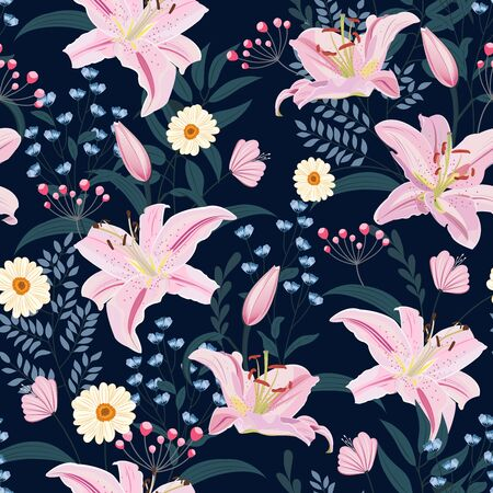 Lily flower seamless pattern on blue background with floral, Pink lily floral vector illustration