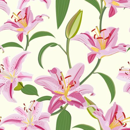 Lily flower seamless pattern on white background, Pink lily floral vector illustration