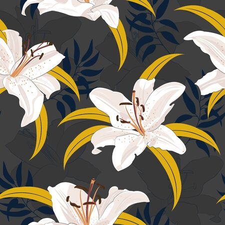 Lily flower seamless pattern on black background, White lily floral vector illustration