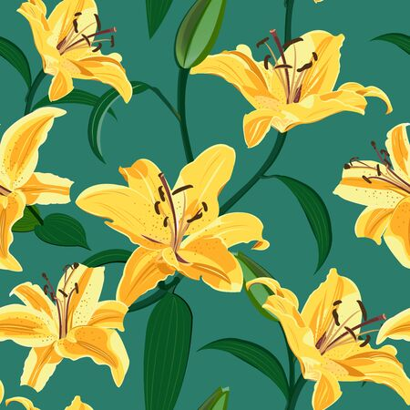 Lily flower seamless pattern on green background, Yellow lily floral vector illustration Иллюстрация