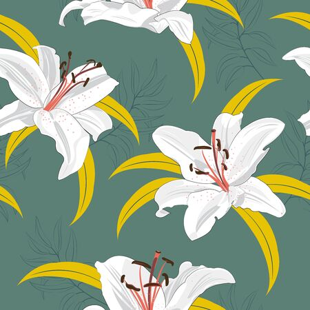 Lily flower seamless pattern on green background, White lily floral vector illustration