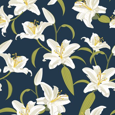 Lily flower seamless pattern on blue background, white lily floral vector illustration