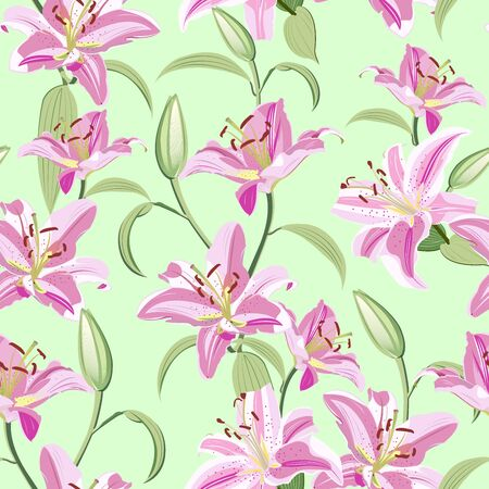 Lily flower seamless pattern on green background, Pink lily floral vector illustration Ilustração
