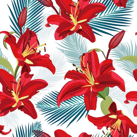 Lily flower seamless pattern on white background with palm leaves, Red lily floral vector illustration