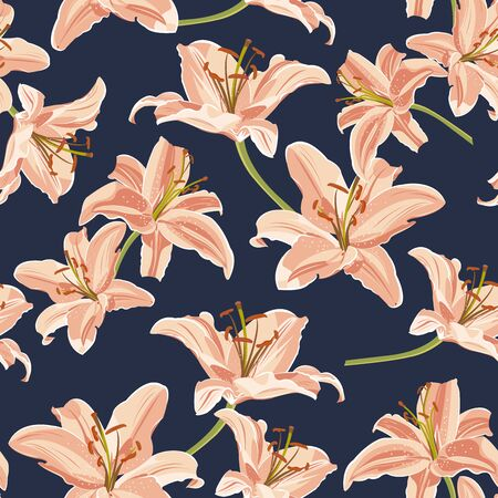 Lily flower seamless pattern on blue background, Orange lily floral vector illustration Banque d'images - 130818521