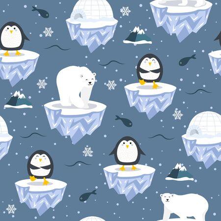 Modèle sans couture de Noël avec pingouin sur fond de banquise, modèle d'hiver avec ours polaire, papier d'emballage, motifs de remplissage, salutations d'hiver, fond de page Web, cartes de voeux de Noël et du nouvel an Vecteurs
