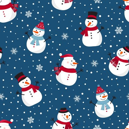 Christmas seamless pattern with snowman, Winter pattern with snowflakes, wrapping paper, pattern fills, winter greetings, web page background, Christmas and New Year greeting cards