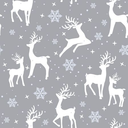 Christmas seamless pattern with reindeer background, Winter pattern with reindeer, wrapping paper, pattern fills, winter greetings, web page background, Christmas and New Year greeting cards Vetores
