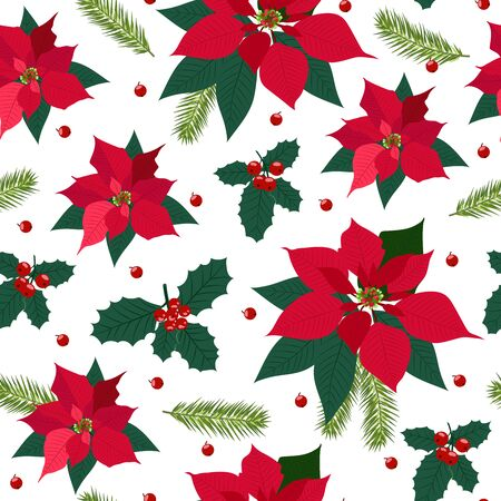 Christmas seamless pattern with poinsettia plant background, Winter pattern, wrapping paper, pattern fills, winter greetings, web page background, Christmas and New Year greeting cards