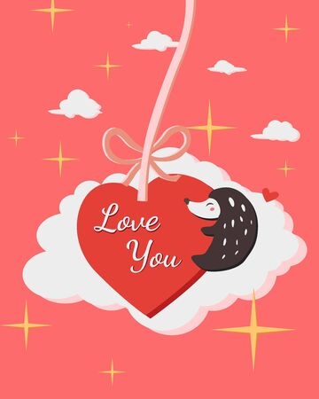Happy Valentines Day with hedgehog hug heart balloon, Valentines Day background with Cute hedgehog , Valentine card and poster