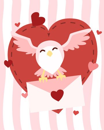 Happy Valentine's Day owl flying with letter of love, Valentines Day background with owl post delivery, Valentine card and poster