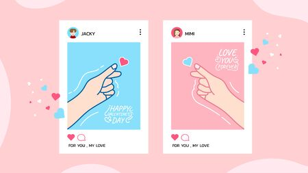 Happy Valentine's Day with love couple mobile App Onboard Screen, Valentines Day background couple in a relationship, concept for website or web page